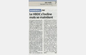Article Nice-Matin du 13/05/2015